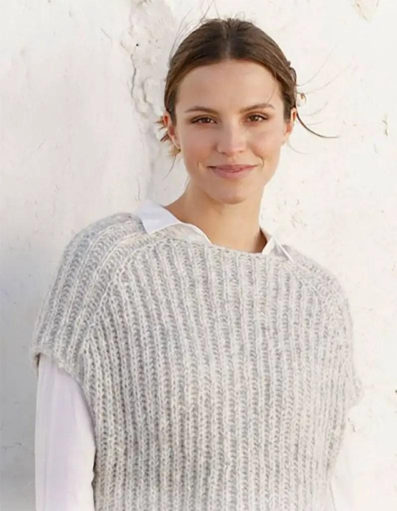 Modèle de pull sans manches à tricoter