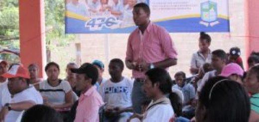 Genner Radillo Sarmiento Presidente de la JAL del corregimiento de las Palmas, cuando se dirigía a los presentes.