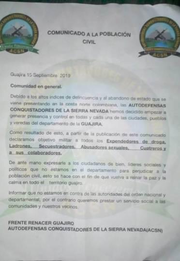 El panfleto que rodó en redes sociales y en físico para los corregimientos de La Punta de los Remedios y Mingueo.