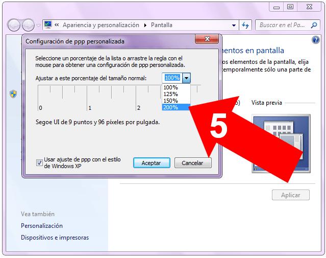 DPI en Windows 7
