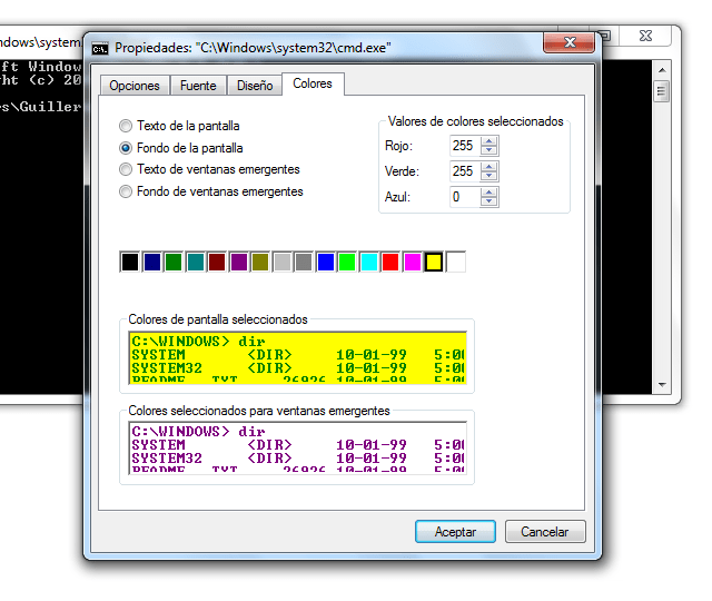 Cambiar colores CMD