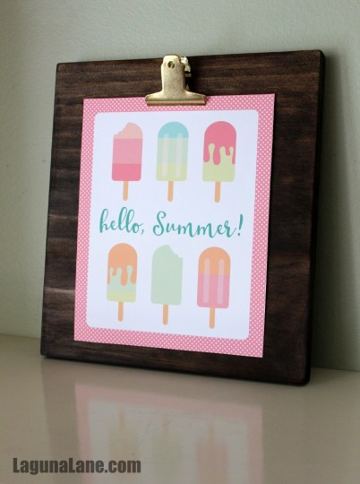 DIY Wood Photo Clipboard - Summer Printable | Laguna Lane