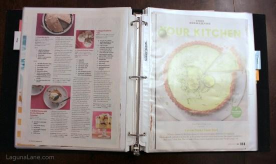 DIY Recipe Binder - Easily store magazine recipes for future reference | Laguna Lane