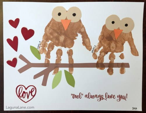 DIY Valentine's Day - Owl Always Love You Handprint Craft - Cute for Valentine's Day or any other occassion! | Laguna Lane
