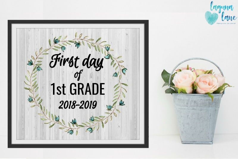 photo about Printable Farmhouse Signs called Farmhouse Initially Working day of Higher education Indications 2018-2019 Free of charge