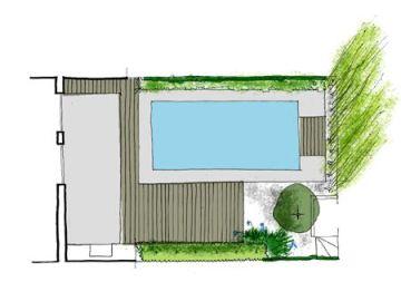 jardin de diseño con piscina