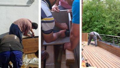 montando madera jardines