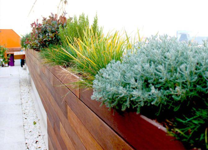 terraza moderna con jardín en Madrid