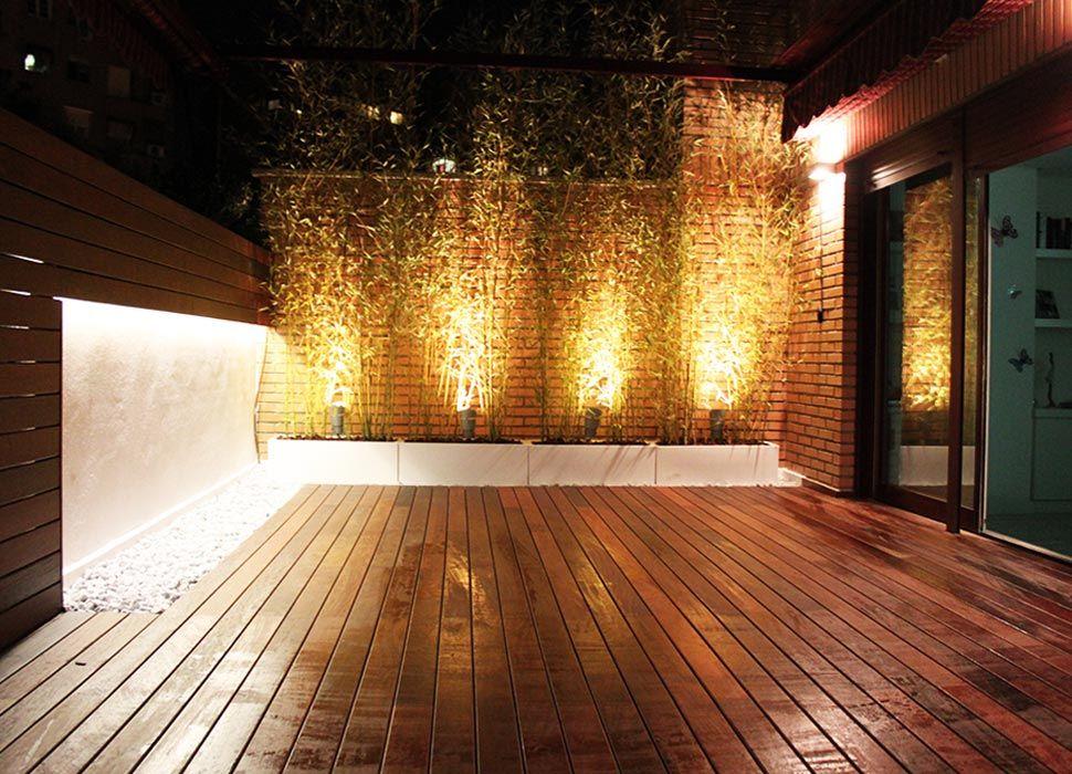 Terraza en Madrid iluminación exterior