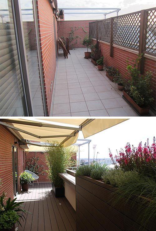 Jardín de diseño en terraza. Antes y después