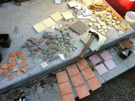 The tiles to be broken for the Mosaic