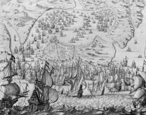 Asalto de Cádiz en 1596 por barcos ingleses