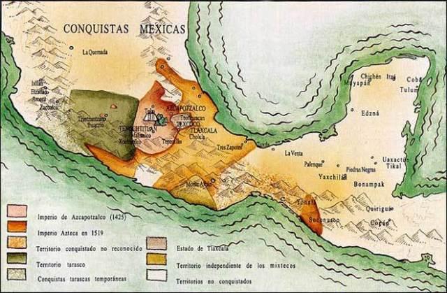 mapa cultura azteca