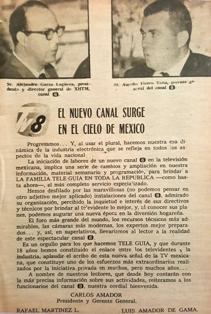 revista tele guia 1969 canal 8 alejandro garza lagüera