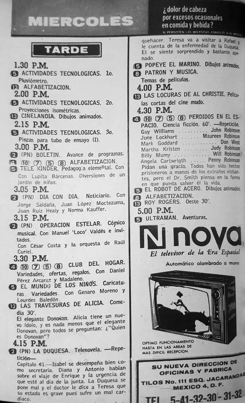 50-revista teleguia enero 1970 television nova perdidos en el espacio patron y musica operacioin estelar club del hogar travesuras de alicia