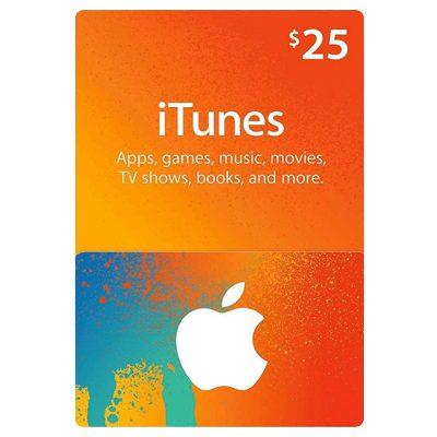 itunes 25 dollar card