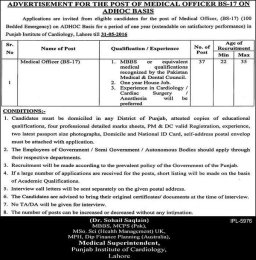 37 Medical Officer Job Postings Available In Punjab Institute Of Cardiology Lahore