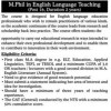 MPhil In English Language Teaching 2 Years Duration Eligibility Criteria In Lahore