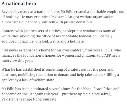Abdul Sattar Edhi A National Hero