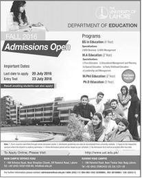 BS MA Mphil And Phd Education Admission Eligibility Criteria In University Of Lahore