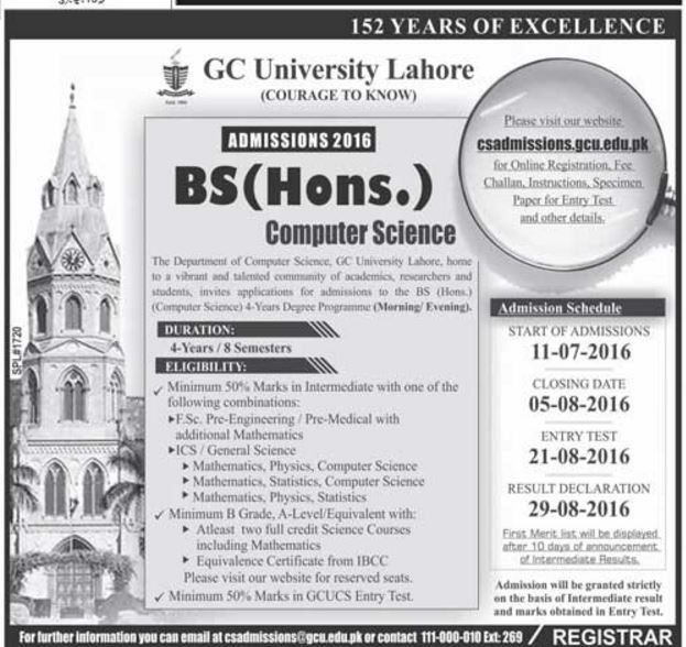 BS Computer Science After Inter ICS In Lahore GC University