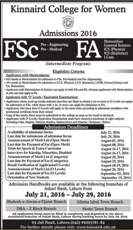 Kinnaird College For Women Lahore FA FSc Admission After 10th Class