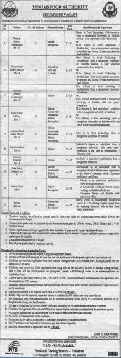 Punjab Food Authority Jobs NTS 2017 Lahore Rawalpindi Faisalabad Gujranwala Multan
