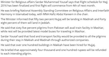 hajj flights schedule 2016 pakistan