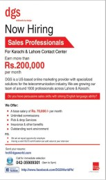 DGS World Pakistan Jobs With 70 Thousands Salary For Sales Professionals