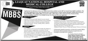 Liaquat National Hospital And Medical College Admission 2017 MBBS Schedule Announced