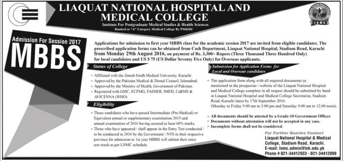 Liaquat National Hospital And Medical College Admission MBBS 2016