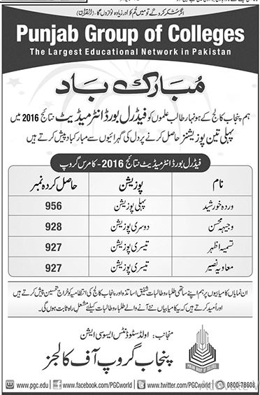 Punjab Group of College Intermediate Result Position Holders