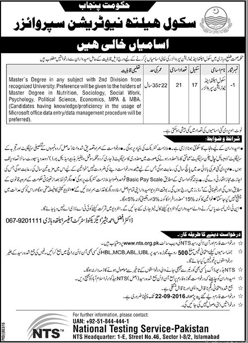 School Health Nutrition Supervisor Jobs 2016 NTS Result In Pakistan
