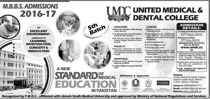 United Medical And Dental College MBBS Admissions 2016-17
