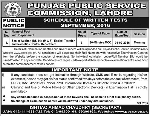 PPSC Lahore Senior Auditor Written Test