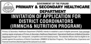 NTS Govt Of Punjab Primary Secondary Healthcare Department Jobs Test Result Dist Coordinator Form Download 2017