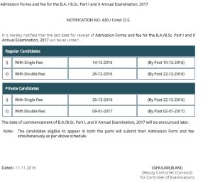 Punjab University BA BSc Admission Form Last Date 2018