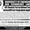UET Lahore GAT General NTS Test Date 2017 Admission Form Postgraduate