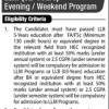 LLM 2 Years Program Evening Weekend Program Eligibility Criteria Scope In Pakistan