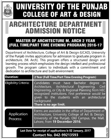 Punjab University Lahore Admission Notice For Architecture Department 2017 In Engish