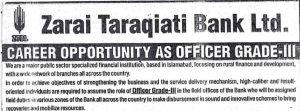 Zarai Taraqiati Bank Grade 3 Officer Job 2017 ZTBL NTS Apply