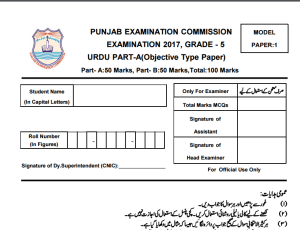 5th Class Urdu Model Paper 2018 PEC Issued Board Sample Papers