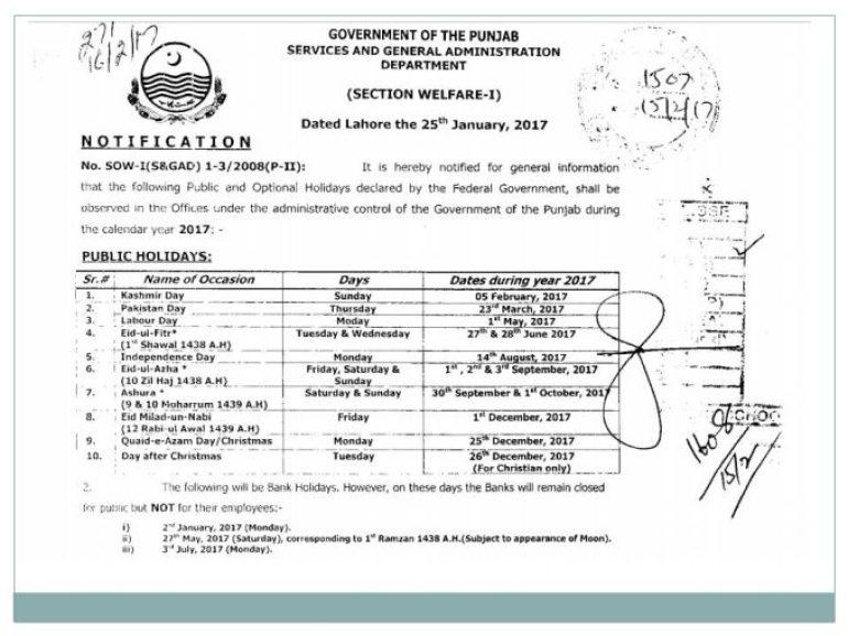 gazetted holidays in punjab pakistan 2017gazetted holidays in punjab pakistan 2017