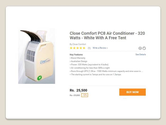 Close Comfort PC8 Air Conditioner 320 Watts White With A Free Tent