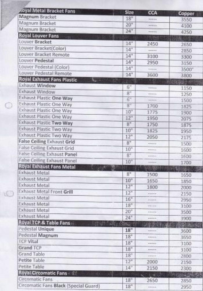 Royal Fans Price List Latest