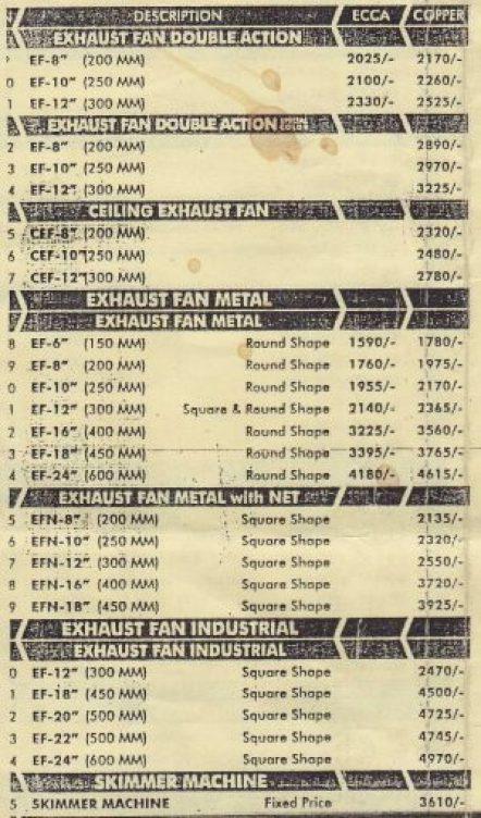Super Asia Fans Price List Latest