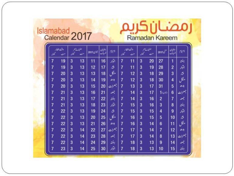 Islamabad Ramadan Timings 2017