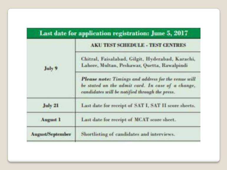 Aga Khan University MBBS Admission Schedule 2017