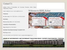 Kohat Board HSSC Result 2017 Part 1, 2 Put Roll No, Name, College Code