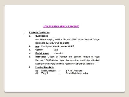 Join Pakistan Army As Medical Cadet Eligibility Criteria